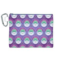 Background Floral Pattern Purple Canvas Cosmetic Bag (xl)