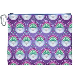 Background Floral Pattern Purple Canvas Cosmetic Bag (xxxl)