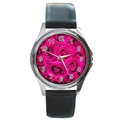 Pink Roses Roses Background Round Metal Watch