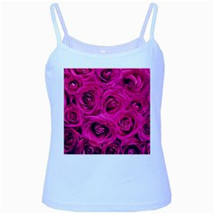 Pink Roses Roses Background Baby Blue Spaghetti Tank
