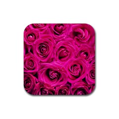 Pink Roses Roses Background Rubber Coaster (Square)