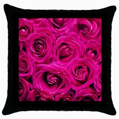Pink Roses Roses Background Throw Pillow Case (black)