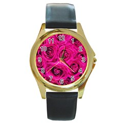 Pink Roses Roses Background Round Gold Metal Watch