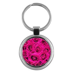 Pink Roses Roses Background Key Chains (Round)