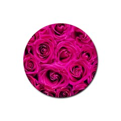 Pink Roses Roses Background Rubber Round Coaster (4 Pack)