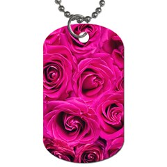 Pink Roses Roses Background Dog Tag (One Side)