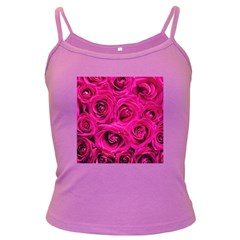 Pink Roses Roses Background Dark Spaghetti Tank