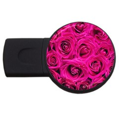Pink Roses Roses Background Usb Flash Drive Round (4 Gb)