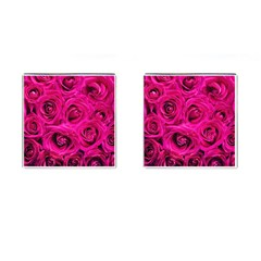 Pink Roses Roses Background Cufflinks (Square)