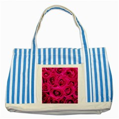 Pink Roses Roses Background Striped Blue Tote Bag