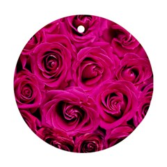 Pink Roses Roses Background Round Ornament (Two Sides)