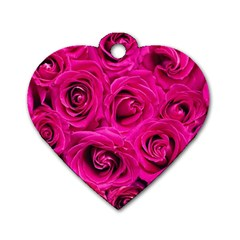 Pink Roses Roses Background Dog Tag Heart (two Sides)