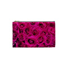 Pink Roses Roses Background Cosmetic Bag (Small)