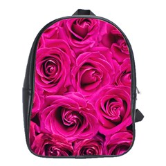 Pink Roses Roses Background School Bags(large)