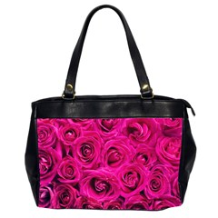 Pink Roses Roses Background Office Handbags (2 Sides)