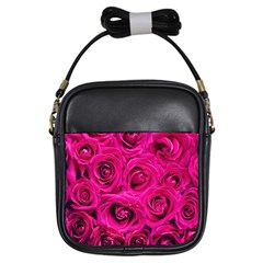 Pink Roses Roses Background Girls Sling Bags