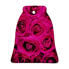 Pink Roses Roses Background Bell Ornament (two Sides)