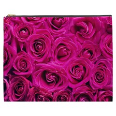 Pink Roses Roses Background Cosmetic Bag (xxxl)