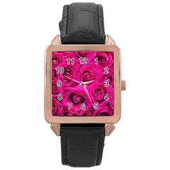 Pink Roses Roses Background Rose Gold Leather Watch