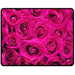 Pink Roses Roses Background Double Sided Fleece Blanket (medium)