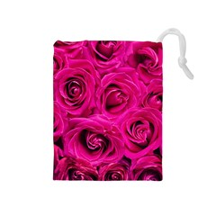Pink Roses Roses Background Drawstring Pouches (medium)