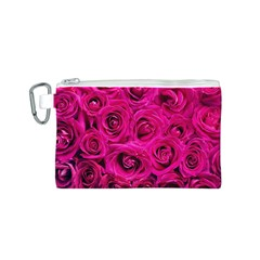 Pink Roses Roses Background Canvas Cosmetic Bag (s)