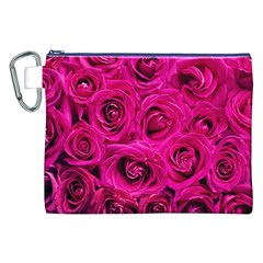 Pink Roses Roses Background Canvas Cosmetic Bag (XXL)