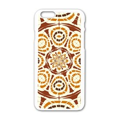 Brown And Tan Abstract Apple iPhone 6/6S White Enamel Case