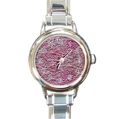 Leaves Pink Background Texture Round Italian Charm Watch