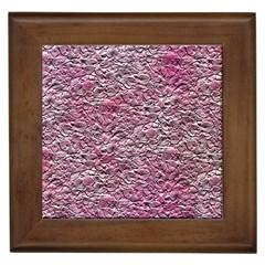 Leaves Pink Background Texture Framed Tiles