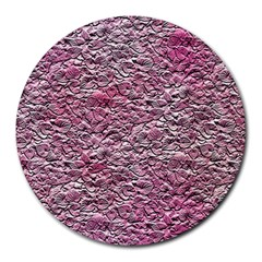 Leaves Pink Background Texture Round Mousepads