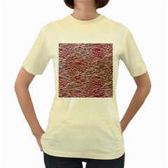 Leaves Pink Background Texture Women s Yellow T Shirt