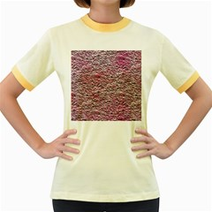 Leaves Pink Background Texture Women s Fitted Ringer T-Shirts