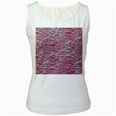 Leaves Pink Background Texture Women s White Tank Top