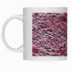 Leaves Pink Background Texture White Mugs