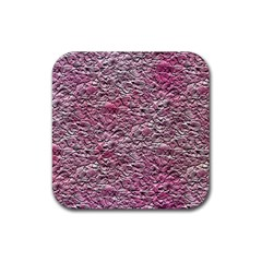 Leaves Pink Background Texture Rubber Coaster (square)