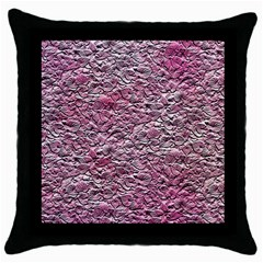 Leaves Pink Background Texture Throw Pillow Case (Black)
