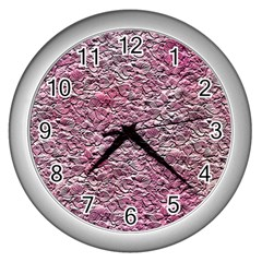 Leaves Pink Background Texture Wall Clocks (silver)