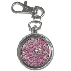 Leaves Pink Background Texture Key Chain Watches