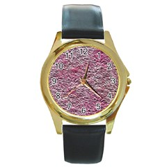 Leaves Pink Background Texture Round Gold Metal Watch