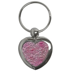 Leaves Pink Background Texture Key Chains (heart)