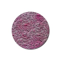 Leaves Pink Background Texture Rubber Round Coaster (4 pack)