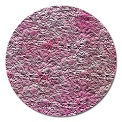 Leaves Pink Background Texture Magnet 5  (Round)