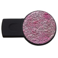 Leaves Pink Background Texture USB Flash Drive Round (2 GB)