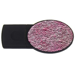 Leaves Pink Background Texture Usb Flash Drive Oval (2 Gb)