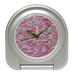 Leaves Pink Background Texture Travel Alarm Clocks