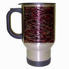 Leaves Pink Background Texture Travel Mug (silver Gray)