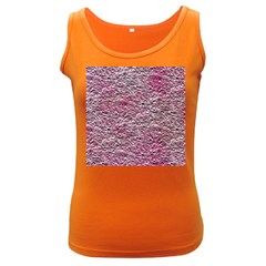Leaves Pink Background Texture Women s Dark Tank Top