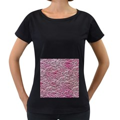 Leaves Pink Background Texture Women s Loose-Fit T-Shirt (Black)