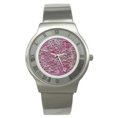 Leaves Pink Background Texture Stainless Steel Watch